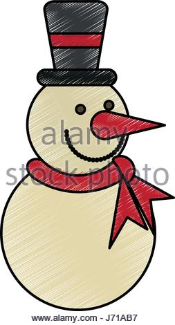 253x470 Silhouette Snowman With Hat And Scarf Vector Illustration Stock