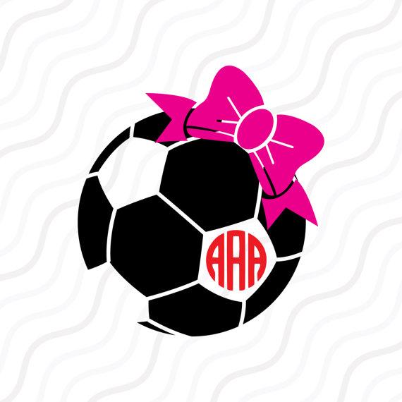570x570 Soccer Ball Bow Svg, Soccer Svg, Soccer Monogram Svg Cut Table