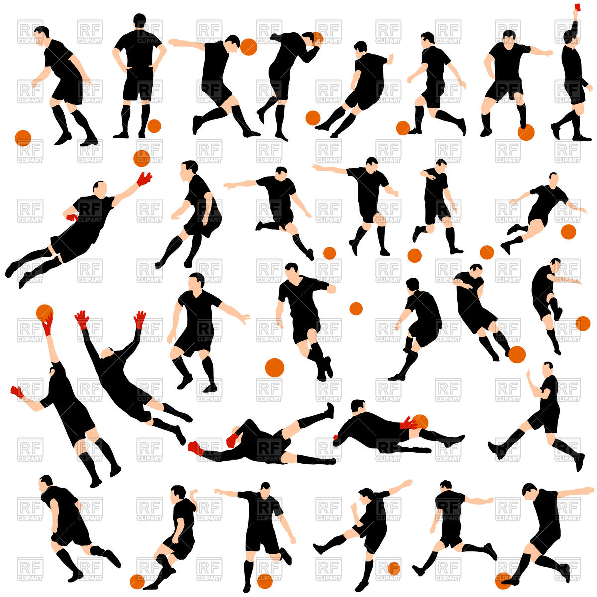 1200x1200 Soccer Player Silhouettes Royalty Free Vector Clip Art Image