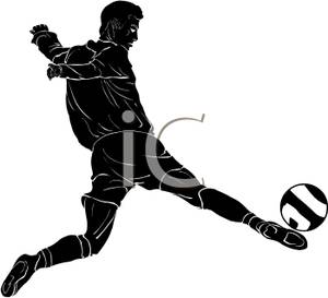 300x273 Silhouette Of A Soccer Player Kicking At The Ball