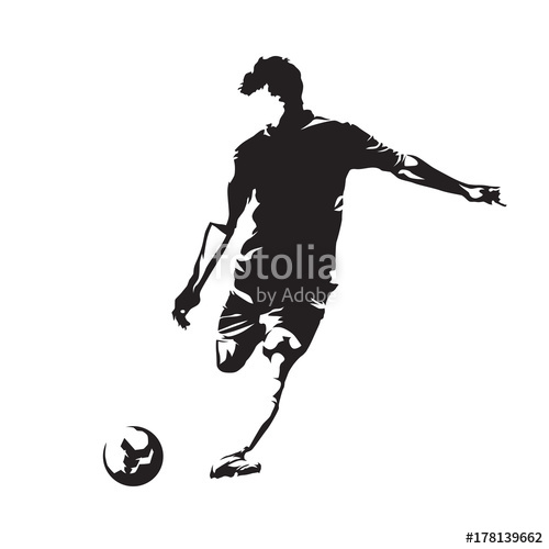 500x500 Soccer Player Kicking Ball, Abstract Vector Silhouette Stock