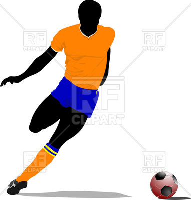 381x400 Soccer Player Silhouette Royalty Free Vector Clip Art Image