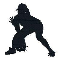 200x200 Softball Girls Silhouette Figures Cuttable Design Cut File. Vector