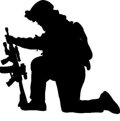 415x418 Kneeling Soldier Clipart