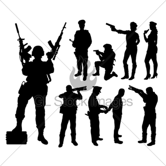 325x325 Soldier Military With Weapon Pose Silhouette Gl Stock Images