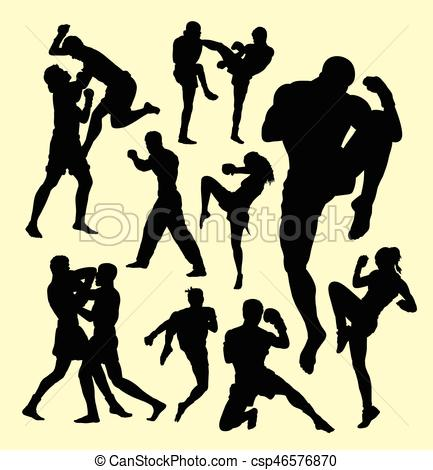 433x470 Muay Thai Boxing Sport Silhouette. Individual And Fighting
