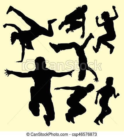 426x470 Parkour Training Sport Silhouette. Good Use For Symbol, Web