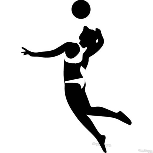 640x640 Sport Volleyball Player Wall Sticker Ball Silhouette Volleyball