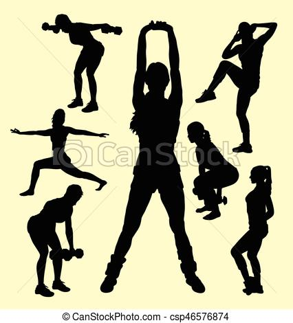 426x470 Training Female Sport Activity Silhouette. Good Use For Vectors