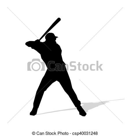 450x470 Baseball Player, Abstract Vector Silhouette. Team Sport Eps Vector