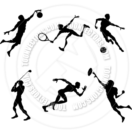 460x460 Sports Player Silhouettes By Geoimages Toon Vectors Eps