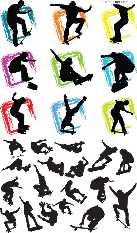 460x782 4 Designer Fashion Sports Figures Silhouette Vector Material