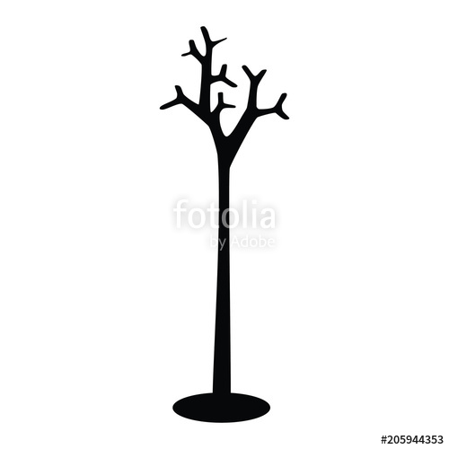 500x500 A Black And White Silhouette Of A Coat And Hat Stand Stock Image
