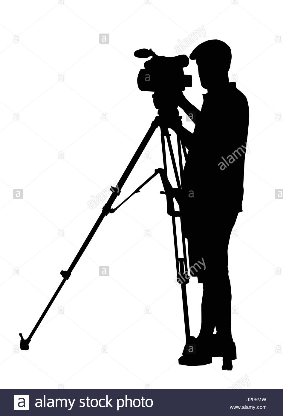 947x1390 Silhouette Of Movie Cameraman With Camera On Tripod Stand Stock