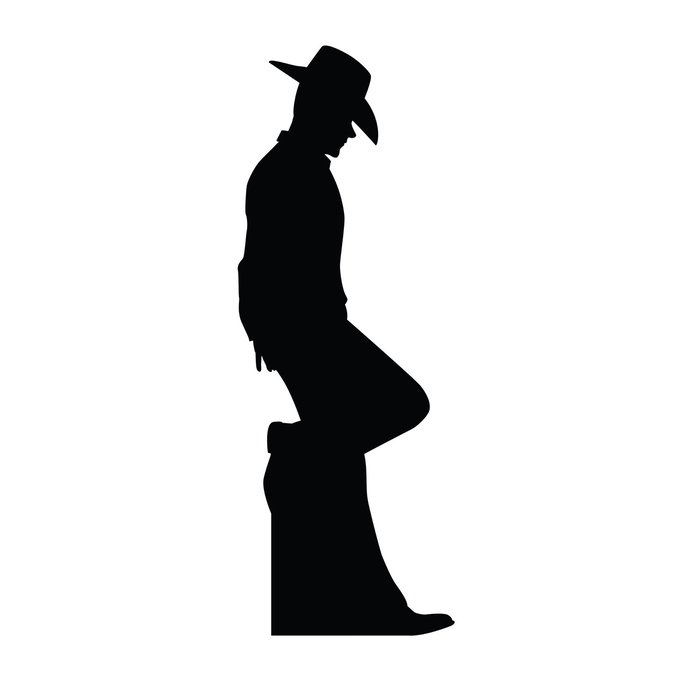 700x700 Advanced Graphics Cowboy Leaning Silhouette Cardboard Stand Up