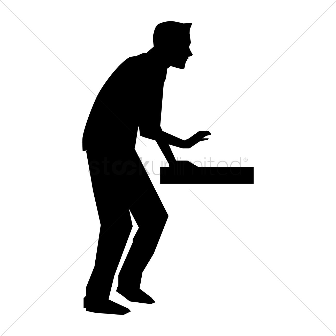 1300x1300 Silhouette Of Man Standing With Hand On Table Vector Image