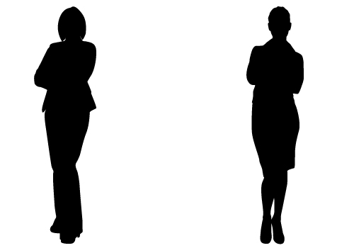 500x350 Lady Standing Side Silhouette Clipart