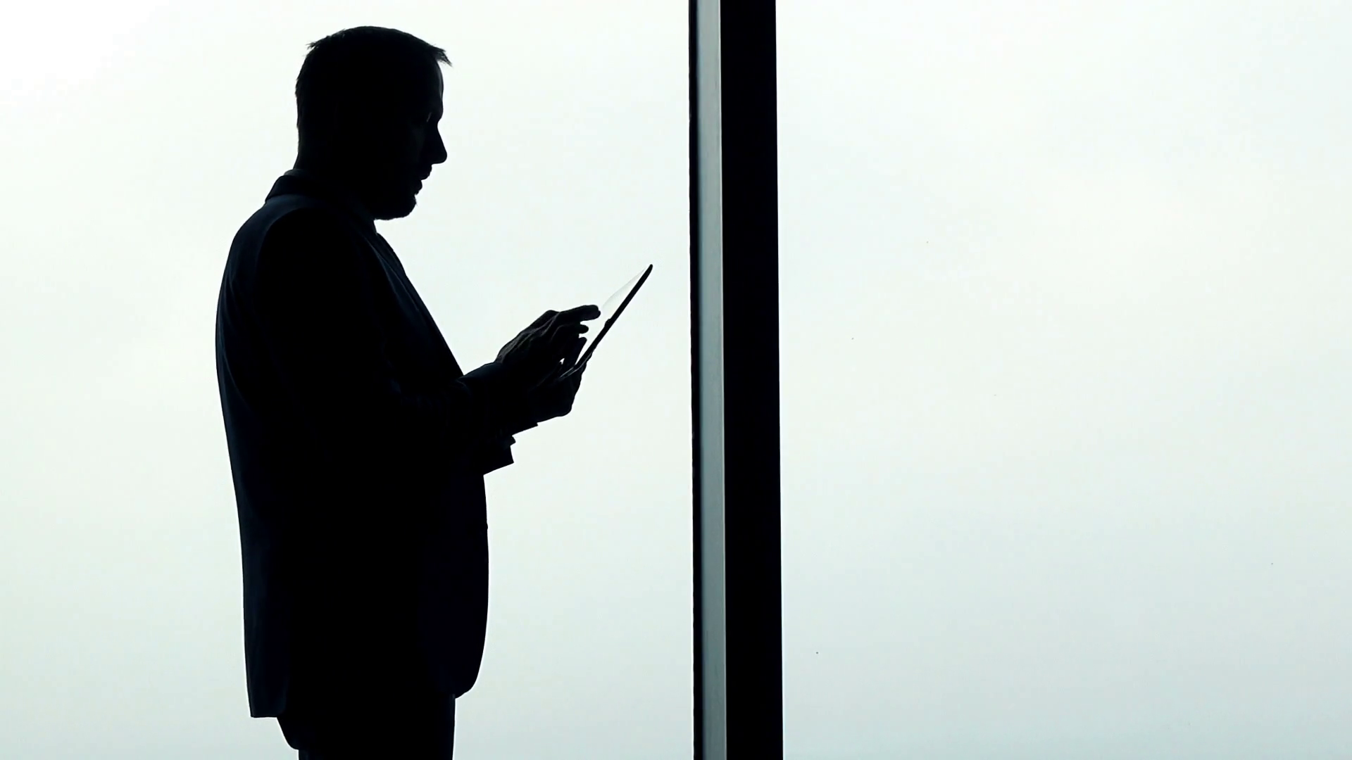 1920x1080 Businessman Silhouette Standing With Tablet Computer By In