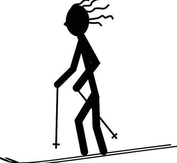 596x548 Skier, Silhouette, Outline, Ski, Sport, Diversion, Avatar, Fun