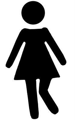 250x400 Vinyl Bathroom Stick Figure Girl, Gotta Go! Stencils