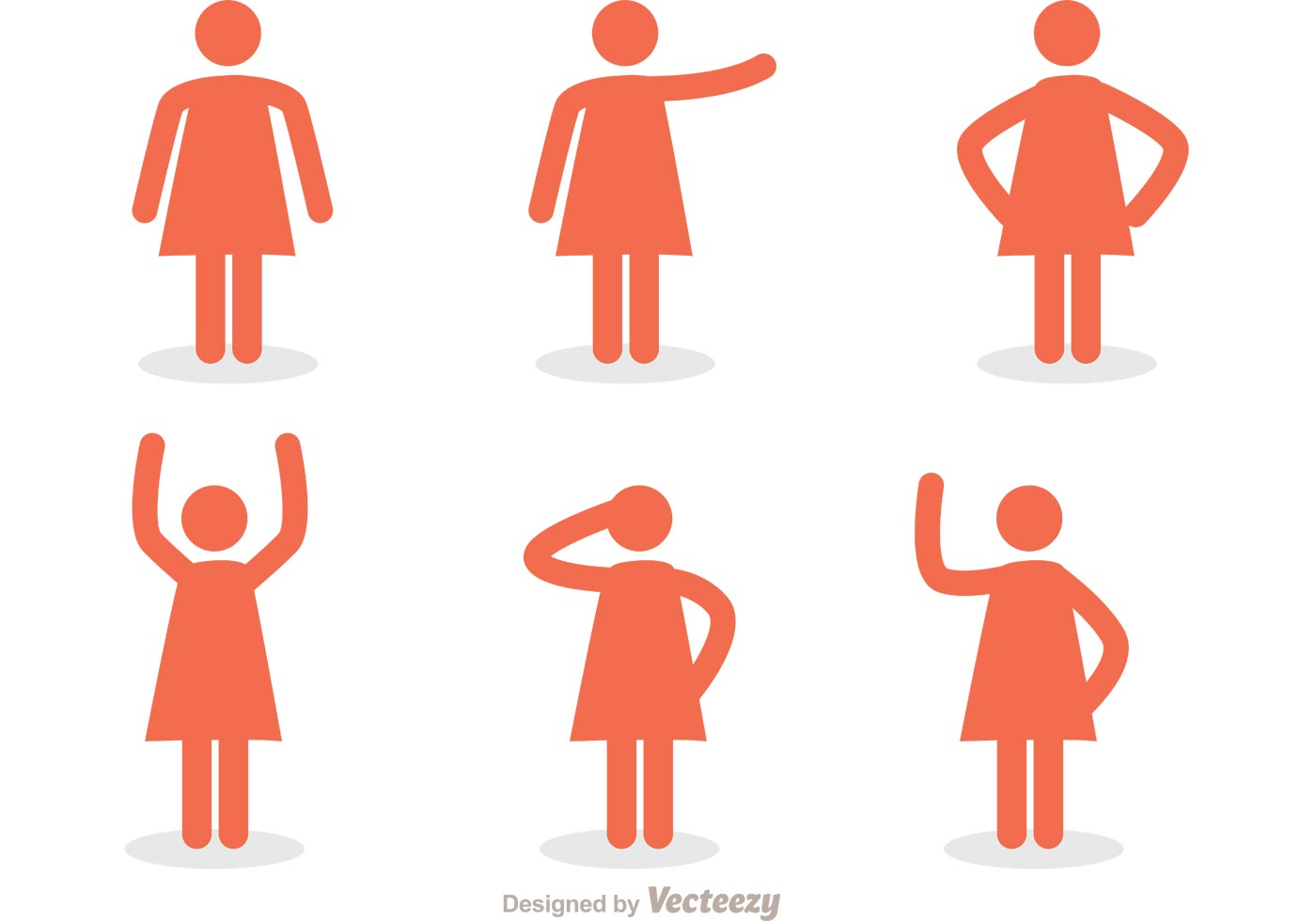 1400x980 Woman Stick Figure Icons Vector Pack
