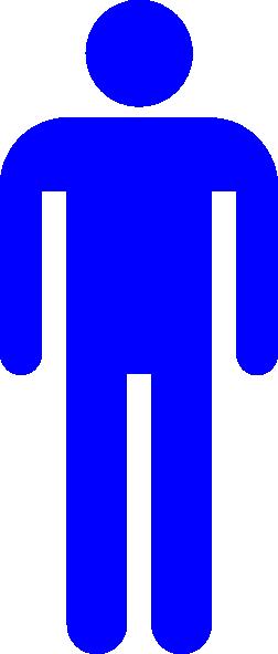 252x591 Blue Male Stick Figure Silhouette Clip Art