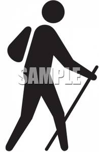 195x300 Clip Art Silhouette Of A Man Walking With A Backpack And Walking