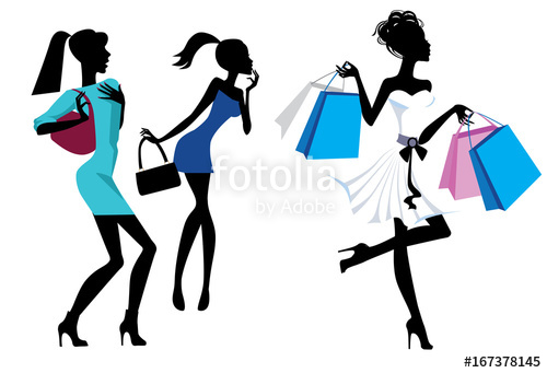 500x341 Silhouette Fashion Girls With Bags And Purchases, Vector Funny
