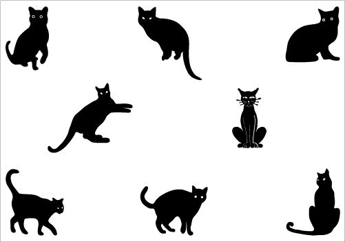 501x351 Black Cats In Different Styles, A Total Of Eight Individual Vector