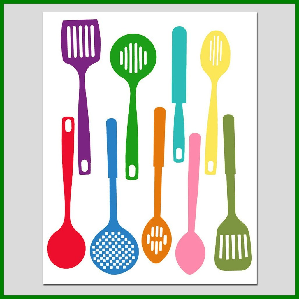 1026x1026 The Best Kitchen Utensils Spatula Collection Silhouette Print