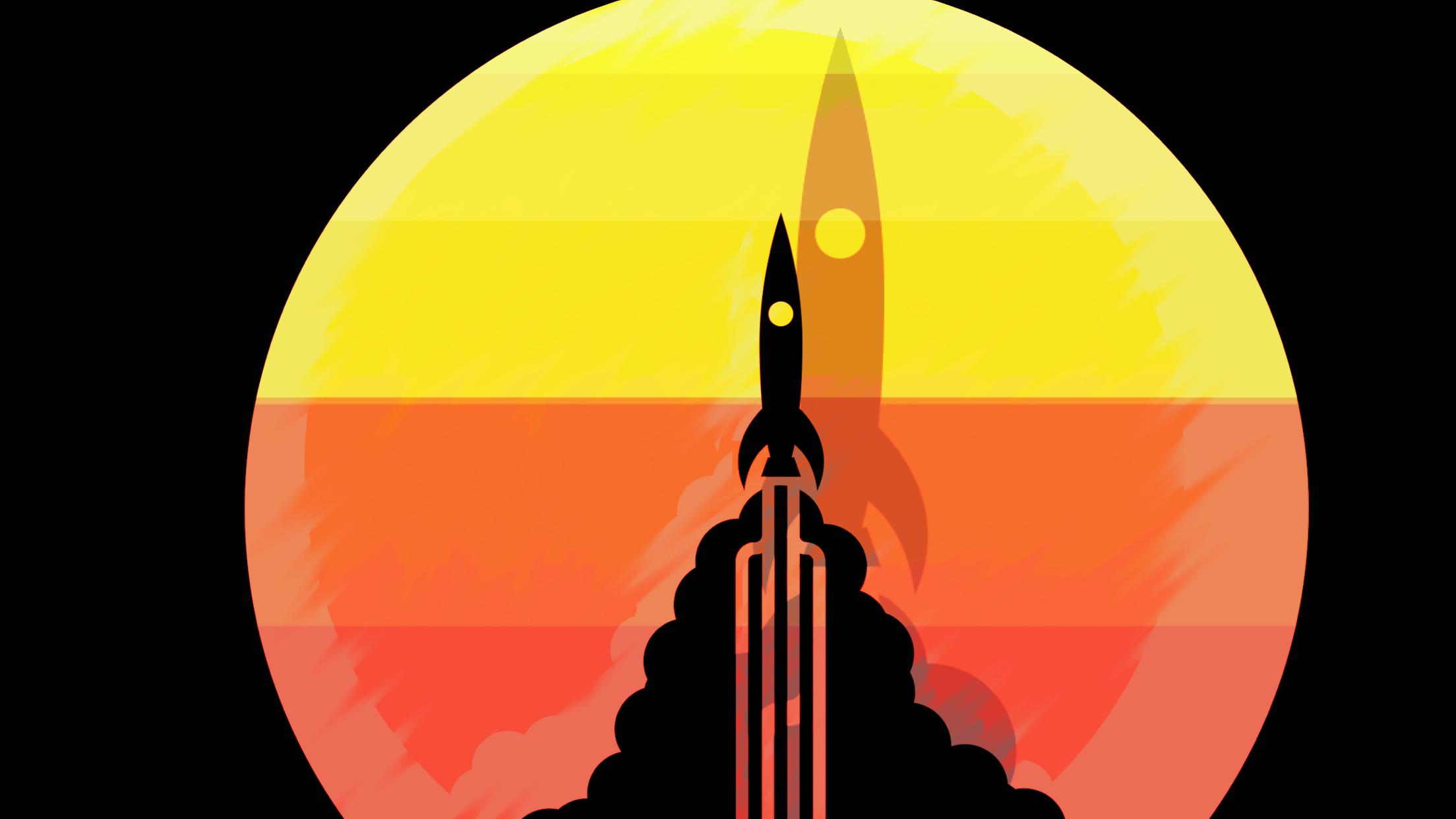 2208x1242 Wallpaper Illustration, Silhouette, Sun Rays, Spaceship, Rocket