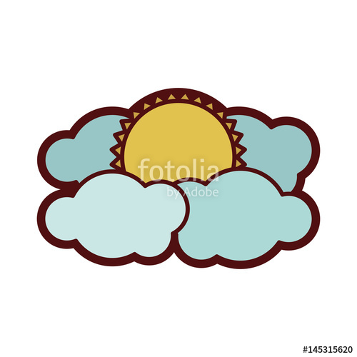 500x500 Colorful Thick Silhouette With Sun Between Clouds Vector