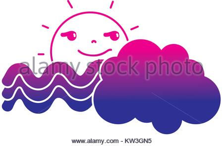 450x295 Silhouette Funny Sun With Cloud And Rainbow Weather Vector Stock