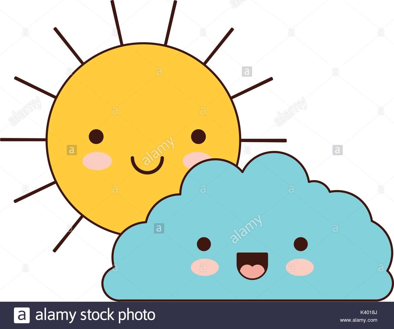 1300x1085 Sun And Cloud Colorful Kawaii Silhouette Stock Vector Art