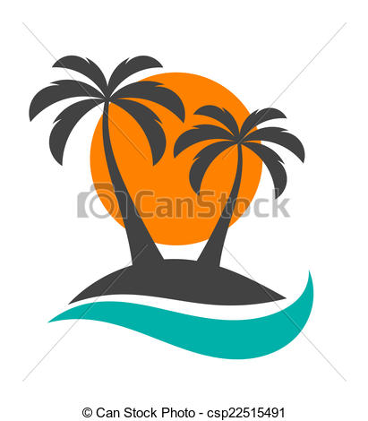 411x470 Palm Trees, Sun And Ocean. Palm Trees Silhouette On Island . Eps