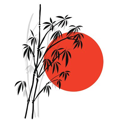 416x416 Silhouette Bamboo And Sun, Isolated On White Background, High