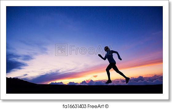 560x355 Free Art Print Of Female Runner Silhouette, Running Into Sunset