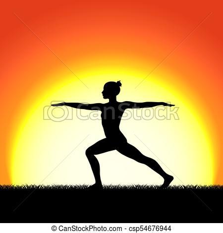 450x470 Yoga Virabhadraasana Pose Black Silhouette On Sunset Eps Vector