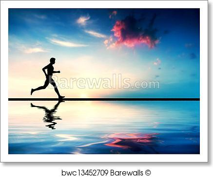437x364 Art Print Of Silhouette Of Man Running