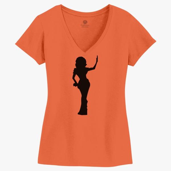 600x600 Rupaul Silhouette Women's V Neck T Shirt