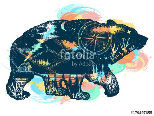 500x375 Magic Bear Double Exposure Color Tattoo Art. Mountains, Compass