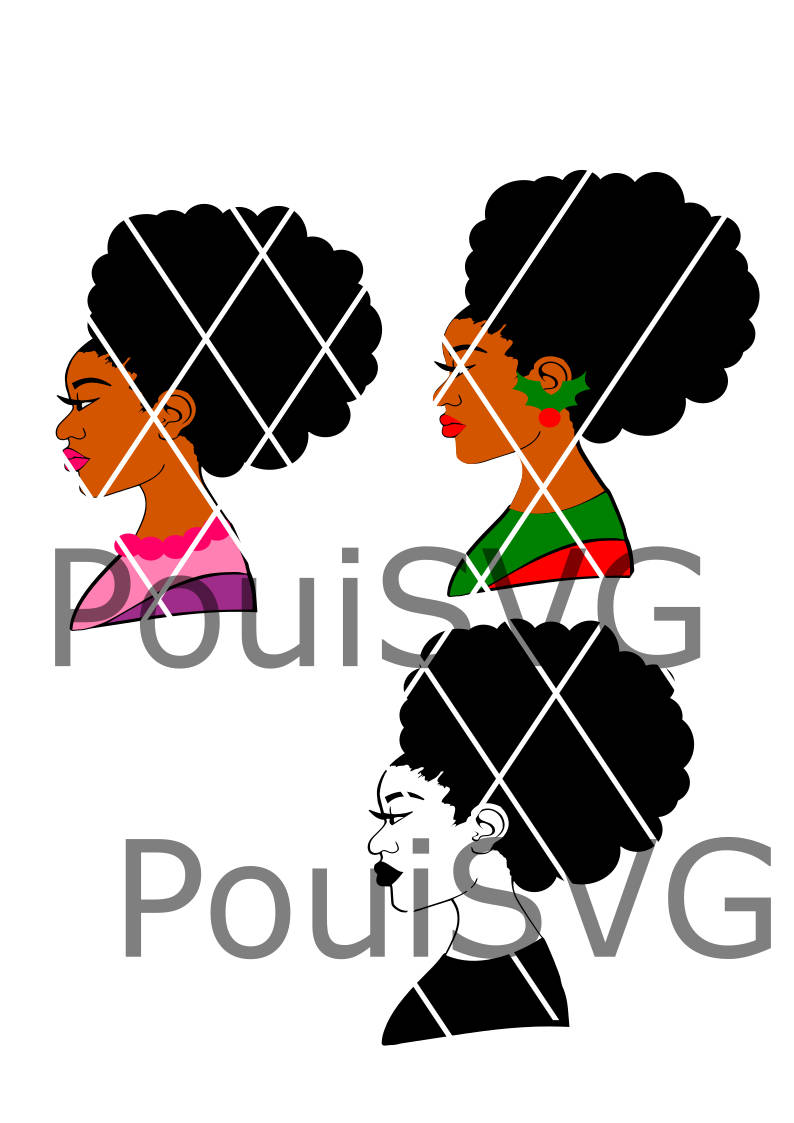794x1123 Afro Lady Svg,afro Puffs Svg,afro Santa Lady, Christmas