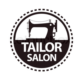 320x309 Tailor Salon Advertising Logo Vector Illustration. Silhouette