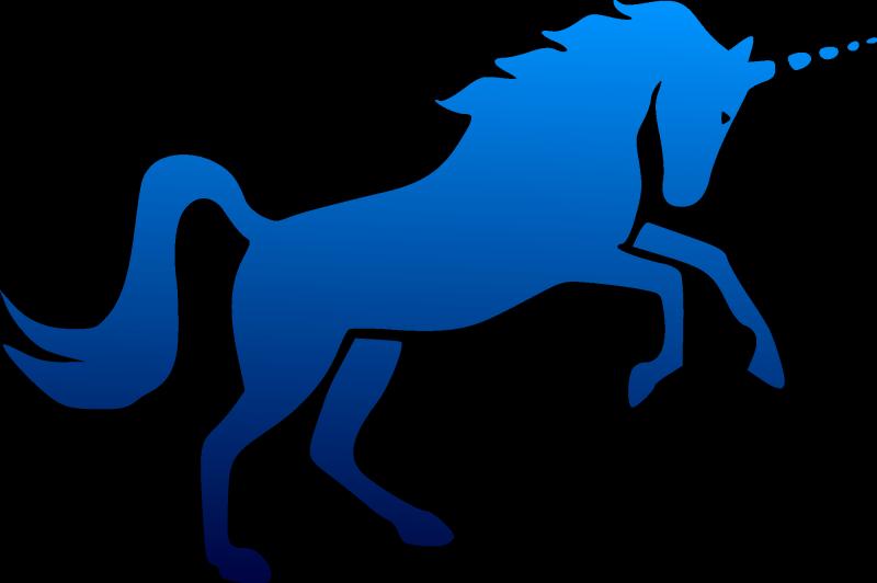 800x532 Plain Full Blue Unicorn Silhouette Tattoo Design