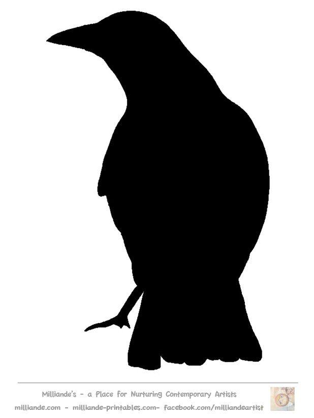 618x824 Bird Silhouette Stencil Template Crow