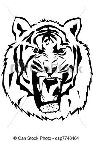 311x470 Tiger Silhouette. Blacke Silhouette Of Tiger Beast Eps Vector