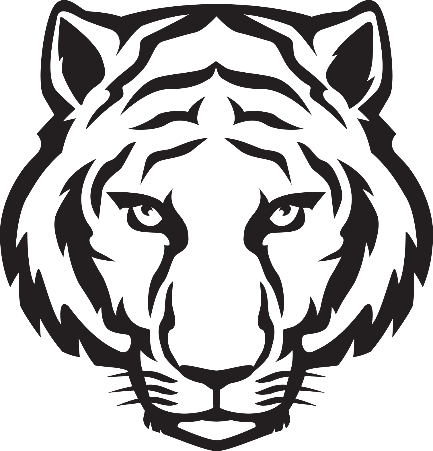 1510x1571 Clipart Tiger Black And White Silhouette