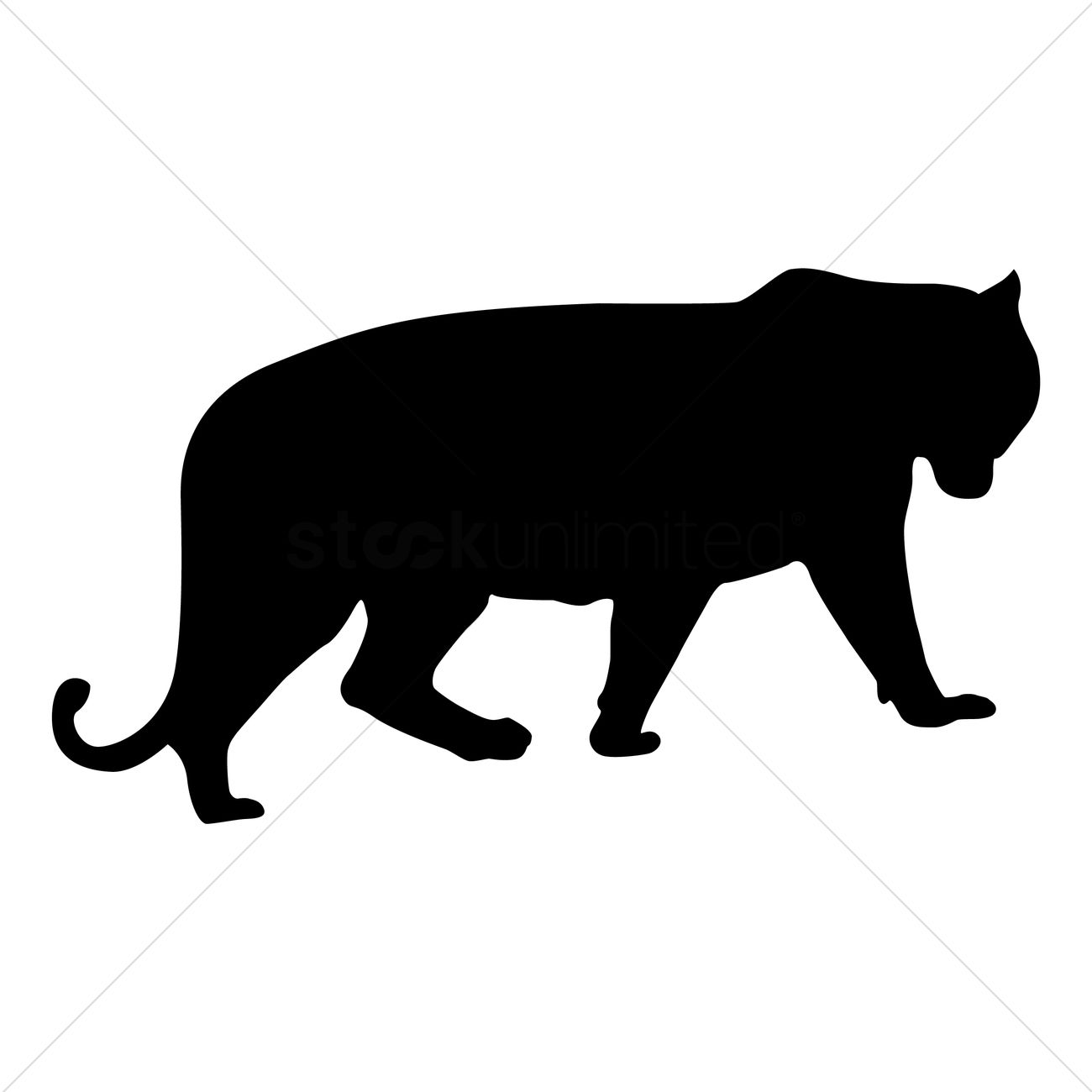 1300x1300 Silhouette Of Tiger Vector Image