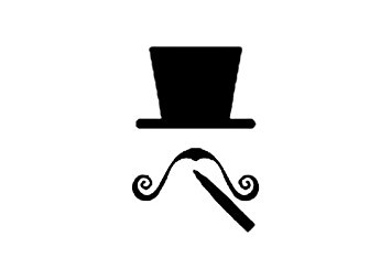 355x253 7 Inches Black Silhouette Of Top Hat Long Swirly