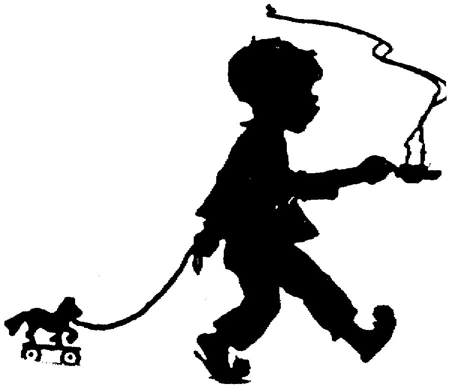 899x775 Silhouette Child Boy Hot Tea Pony Pull Toy Out Of Copyright